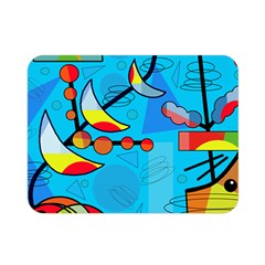 Happy day - blue Double Sided Flano Blanket (Mini)