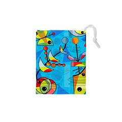 Happy day - blue Drawstring Pouches (XS)