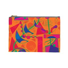 Happy day - orange Cosmetic Bag (Large)