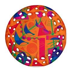 Happy day - orange Round Filigree Ornament (2Side)