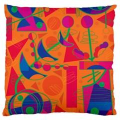 Happy day - orange Large Flano Cushion Case (Two Sides)