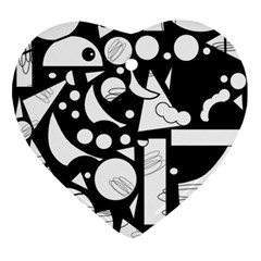 Happy day - black and white Ornament (Heart)