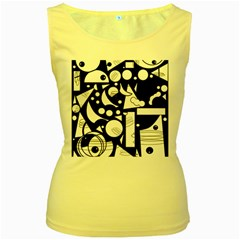 Happy day - black and white Women s Yellow Tank Top