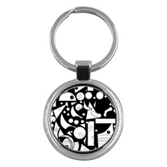 Happy day - black and white Key Chains (Round)