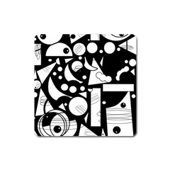 Happy day - black and white Square Magnet
