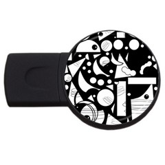Happy day - black and white USB Flash Drive Round (1 GB)