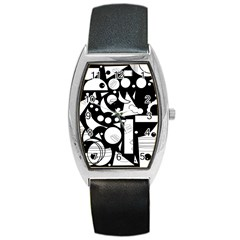 Happy day - black and white Barrel Style Metal Watch