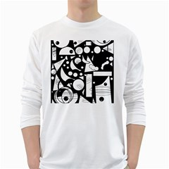 Happy day - black and white White Long Sleeve T-Shirts