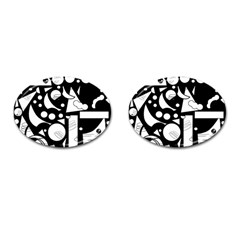 Happy day - black and white Cufflinks (Oval)