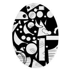 Happy day - black and white Oval Ornament (Two Sides)