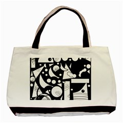 Happy day - black and white Basic Tote Bag (Two Sides)