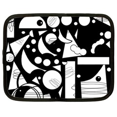 Happy day - black and white Netbook Case (Large)