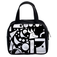Happy day - black and white Classic Handbags (2 Sides)
