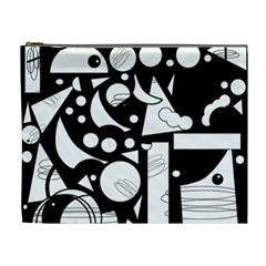 Happy day - black and white Cosmetic Bag (XL)