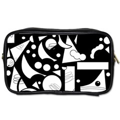 Happy day - black and white Toiletries Bags 2-Side