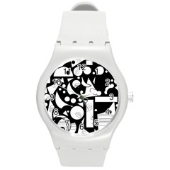 Happy day - black and white Round Plastic Sport Watch (M)