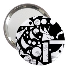 Happy day - black and white 3  Handbag Mirrors