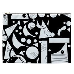 Happy day - black and white Cosmetic Bag (XXL)