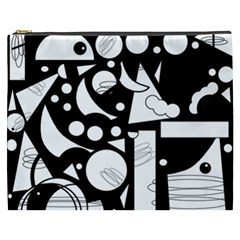 Happy day - black and white Cosmetic Bag (XXXL)
