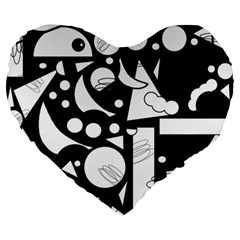 Happy day - black and white Large 19  Premium Heart Shape Cushions