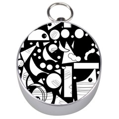 Happy day - black and white Silver Compasses