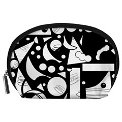 Happy day - black and white Accessory Pouches (Large)