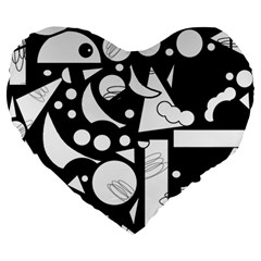 Happy day - black and white Large 19  Premium Flano Heart Shape Cushions