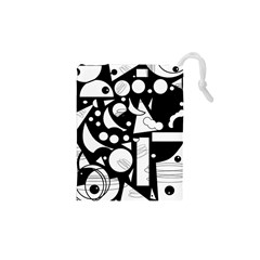 Happy day - black and white Drawstring Pouches (XS)