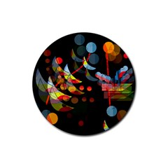 Magical night  Rubber Round Coaster (4 pack)