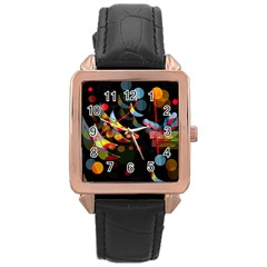 Magical night  Rose Gold Leather Watch