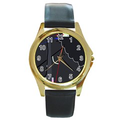 Plug in Round Gold Metal Watch
