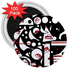Happy life - red 3  Magnets (100 pack)
