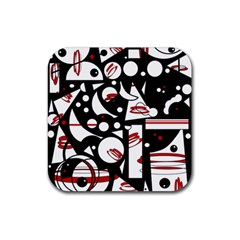 Happy life - red Rubber Square Coaster (4 pack)