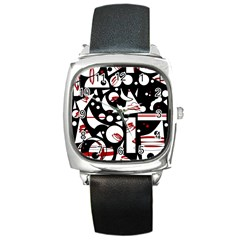 Happy life - red Square Metal Watch