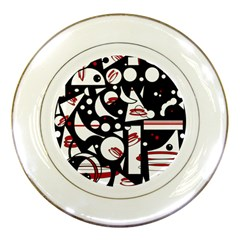 Happy life - red Porcelain Plates