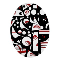 Happy life - red Oval Ornament (Two Sides)