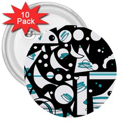 Happy life - blue 3  Buttons (10 pack)
