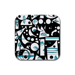 Happy life - blue Rubber Square Coaster (4 pack)