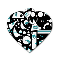 Happy life - blue Dog Tag Heart (Two Sides)