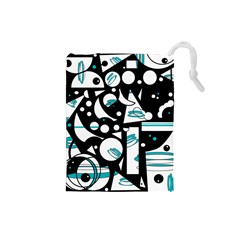 Happy life - blue Drawstring Pouches (Small)