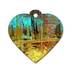 Autumn Landscape Impressionistic Design Dog Tag Heart (Two Sides)