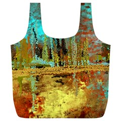 Autumn Landscape Impressionistic Design Full Print Recycle Bags (L)