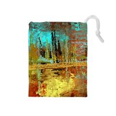 Autumn Landscape Impressionistic Design Drawstring Pouches (medium)