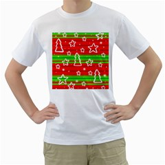 Christmas pattern Men s T-Shirt (White) (Two Sided)