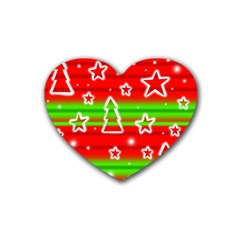 Christmas pattern Heart Coaster (4 pack)