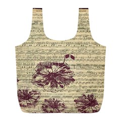 Vintage Music Sheet Song Musical Full Print Recycle Bags (l)