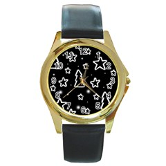 Black and white Xmas Round Gold Metal Watch