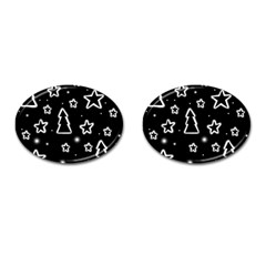 Black and white Xmas Cufflinks (Oval)
