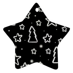 Black and white Xmas Star Ornament (Two Sides)