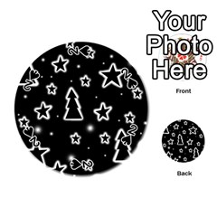 Black and white Xmas Playing Cards 54 (Round)